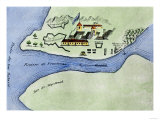 Fort Frontenac on Lake Ontario, 1600S, at the Head of the St. Lawrence River, Now Kingston, Ontario Premium Giclee Print