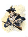 Continental Soldier Loading His Musket, American Revolution Giclee Print