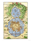 Tenochtitlan, Capital City of Aztec Mexico, an Island Connected by Causeways to Land, c.1520 Giclée-tryk