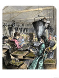 Factory Workers Making Rifle Cartridges, c.1870 Premium Giclee Print