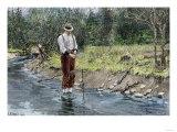 Woodsman Setting a Beaver Trap in a Stream, c.1800 Giclee Print