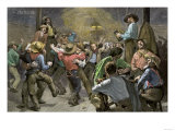 Miners' Ball during the California Gold Rush Giclee Print