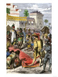 Meeting of Hernando Cortes and Aztec Emperor Montezuma II in Tenochtitlan, c.1519 Giclee Print