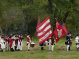 American Army Reenactors with the Rattlesnake Flag at Yorktown Battlefield, Virginia Photographic Print