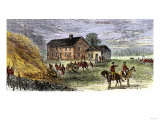 British Burning Patriots' Goods in a Bonfire at Colonel Barrett's House, Battle of Concord, c.1775 Giclee Print