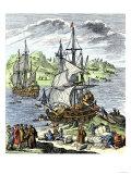 La Salle Landing in Matagorda Bay Texas to Colonize Louisiana Terrritory, c.1685 Premium Giclee Print