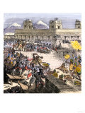 Spanish Invaders Attacked by the Aztecs in Tenochtitlan during la Noche Triste, c.1520 Giclee Print