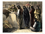 Native Americans Bartering Their Furs for Goods at a Trading-Post, c.1800 Giclee Print