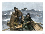 Fishermen in a Dory on the Grand Banks Off Newfoundland, c.1880 Giclee Print