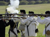 Continental Army Reenactors Firing Their Muskets at Yorktown Battlefield, Virginia Photographic Print