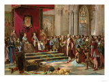 Columbus Greeted by King Ferdinand and Queen Isabella Upon His Return to Spain from the New World Giclee Print
