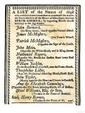 List of Boston Merchants to Be Boycotted for Importing British Goods, c.1770 Giclee Print