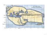 Map of the World According to Ancient Greek Geographer Eratosthenes Giclee Print