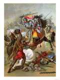 Hernando Cortes Loses Two Horses in Battle with Tlaxcalan Natives in Conquering Mexico, c.1519 Giclee Print