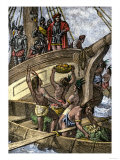 Caribbean Natives Bring Provisions to the Shipwrecked Crew of Columbus, c.1492 Giclee Print