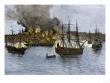 Destruction of Falmouth, Maine by Artillery Fire from British Ships, October 1775 Giclee Print