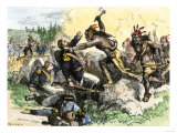 Native Americans Attack the American Garrison at Fort Dearborn in Illinois during the War of 1812 Premium Giclee Print