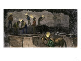 Miners Digging and Loading Coal Into an Underground Mule-Drawn Cart in Pennsylvania, c.1860 Premium Giclee Print