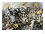 Conquest of the Aztec Capital Tenochtitlan by the Spanish Army of Hernando Cortes, c.1500 Premium Giclee Print