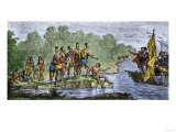 Columbus' Hospitable Reception by Guacanagari, c.1492 Giclee Print