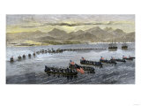 U.S. Troops Landing at Vera Cruz, Mexico, During the U.S.-Mexican War, c.1847 Giclee Print