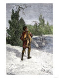 Trapper Making His Winter Rounds in the North Woods Giclee Print