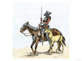 Spanish Conquistador on a Horse with Foal - the Origin of the Horse in Colonial America Giclee Print