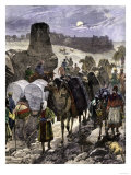 Trade Caravans on the Silk Road, the Great Highway of Central Asia Premium Giclee Print