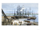 Loading Lumber Onto Ships in Puget Sound, Washington State, c.1880 Premium Giclee Print