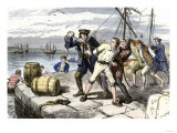 American Sailors in Boston Impressed Into Service of the British Navy Before the War of 1812 Premium Giclee Print