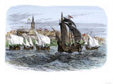Cartier's Ships Leaving St. Malo, France, to Sail for North America, c.1530 Giclee Print