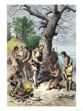 John Smith a Captive Among Native Americans of Virginia Colony, c.1600 Giclee Print