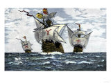 Three Ships of Columbus Approaching the New World, c.1492 Giclee Print