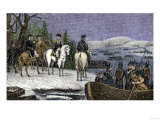 George Washington and His Continental Army Ferried across the Delaware River, c.1776 Giclee Print