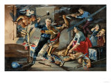 Native Americans Attacking a Colonial Family on the Frontier Giclee Print
