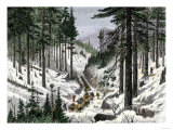 Early Logging in the White Mountains of Maine or New Hampshire Giclee Print