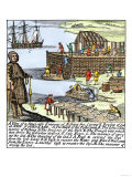 Cod Fishermen Drying and Salting Fish on the Newfoundland Coast, c.1700 Premium Giclee Print