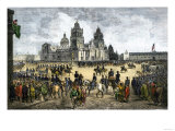 General Winfield Scott Leads U.S. Forces Into Mexico City to End the U.S.-Mexican War, c.1847 Premium Giclee Print