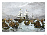 Fleet of Tea-Ships in the China Sea, c.1880 Giclee Print