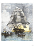 USS Constitution Being Towed in Rowboats Away from the Becalmed British Navy, War of 1812 Giclee Print