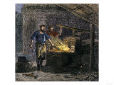 Blacksmith and His Assistant at a Forge Giclee Print