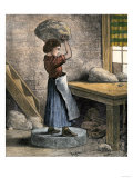 Girl Throwing Clay to Drive Out Air in a Pottery Factory, Trenton New Jersey, c.1870 Giclee Print