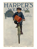 Florist's Delivery Boy on a Bicycle, Harper's Weekly Cover for March 11, 1911 Premium Giclee Print