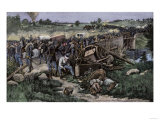 Retreat of the Federal Army over the Stone Bridge after the Second Battle of Bull Run, c.1862 Giclee Print
