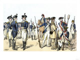 Continental Army Uniforms, 1775-1783, during the Revolutionary War Giclee Print