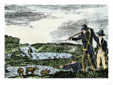 Lewis and Clark Shoot a Grizzly Bear during Their Exploration of Louisiana Territory Premium Giclee Print