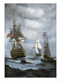 British Ships Blockading Chesapeake Bay at the Outset of the War of 1812 Premium Giclee Print