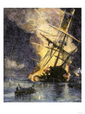 Destruction of British Frigate, Sharon, during the Battle of Yorktown, c.1781 Giclee Print
