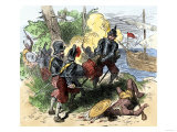 Juan Ponce de Leon, Wounded by Florida Natives, Carried Aboard Ship for Retreat to Cuba, c.1521 Giclee Print