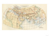 Ptolemy's Map of the World Shown in Red, True Locations in Black Giclee Print